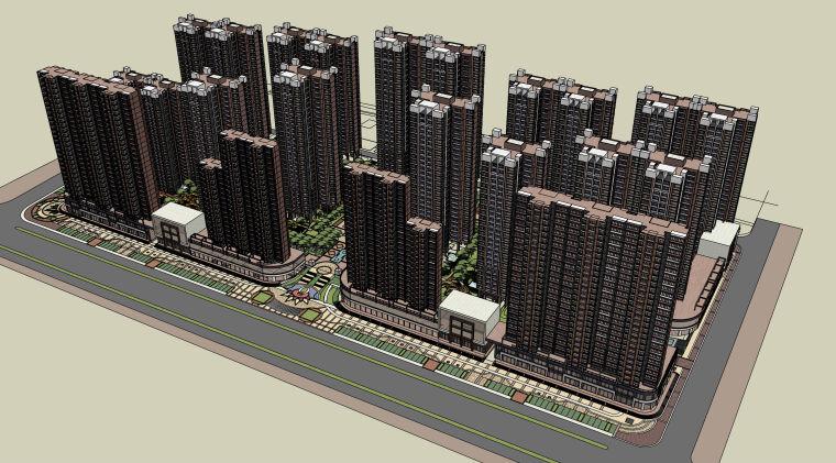 和合完整小区模型带精细景观住宅底商