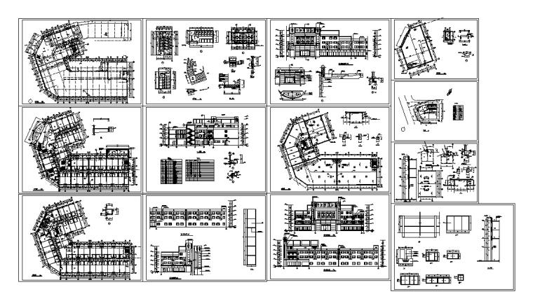 5套现代多层宾馆酒店建筑设计施工图CAD-豪泉多层酒店建筑设计施工图