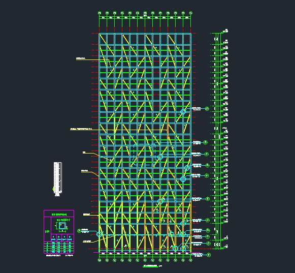 钢结构斜撑与混凝土框架连接节点详图