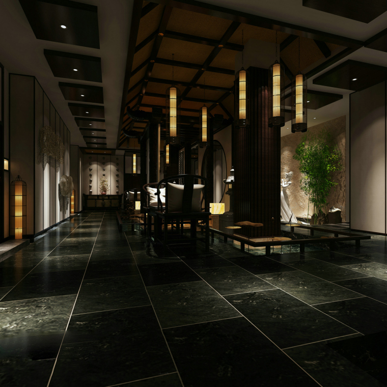 古典黑中式会客厅3D模型