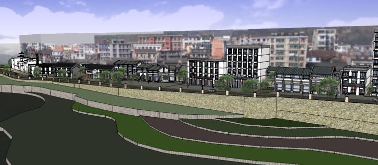 滨水仿古商业街设计(SU模型)