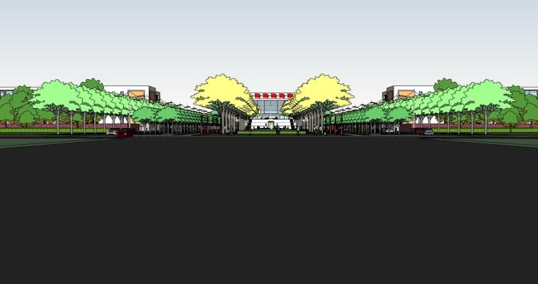 精现代风格学校规划建筑设计SU模型_4