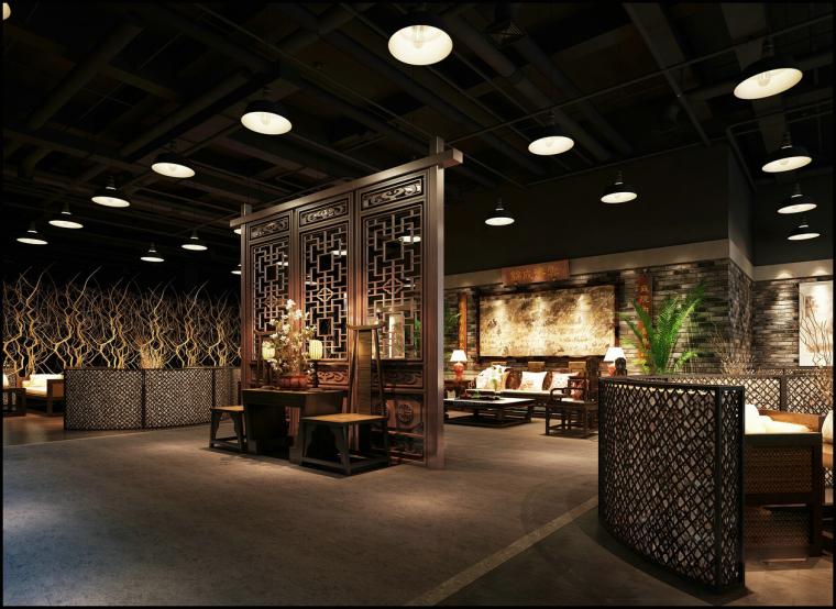 中餐厅会客区大堂3D模型