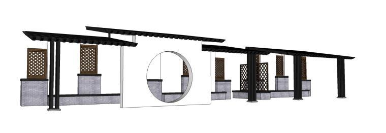 亭子廊架中式漏窗模型设计(su模型)