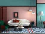 粉绿拼色现代时尚客厅