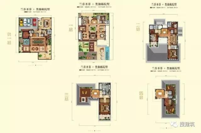 万科罕见的270㎡5房6卫双拼户型,庭院高达228㎡_23