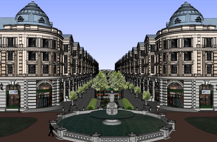欧式商业街超精细建筑SU模型