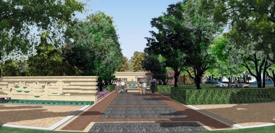 [北京]现代地标型住宅展示区规划设计方案(知名设计公司)-现代地标型住宅展示区景观效果图
