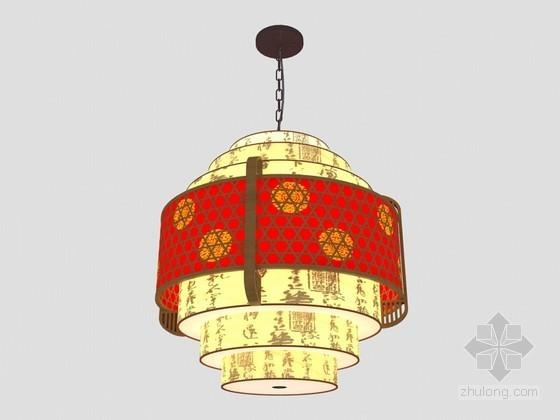 中式时尚吊灯3D模型下载
