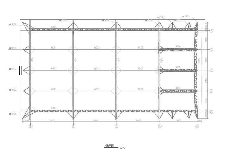 网球场加顶膜结构工程建筑结构施工图(CAD、19张)