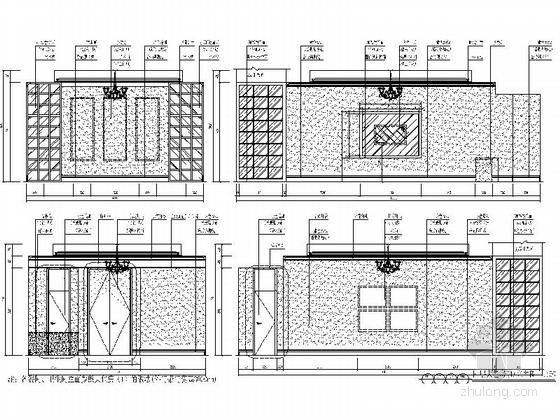 [深圳]城市中心区奢华典雅酒店设计CAD施工图(含效果)大包房立面图