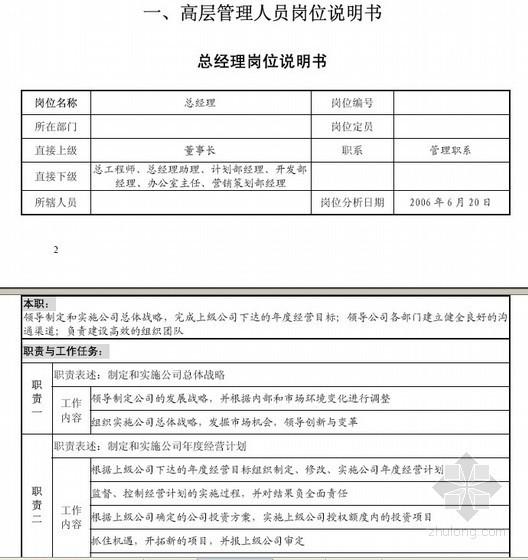 标杆房企企业管理手册(岗位职责)106页