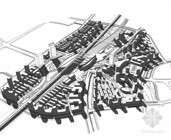 大型交通枢纽周边地区规划设计效果图
