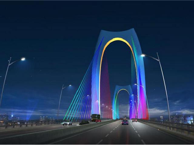 亚洲首座双塔双索面预应力混凝土边主梁斜拉桥青云大桥成功合拢