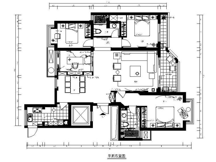 [福建]现代简约三居室设计施工图(含效果图)