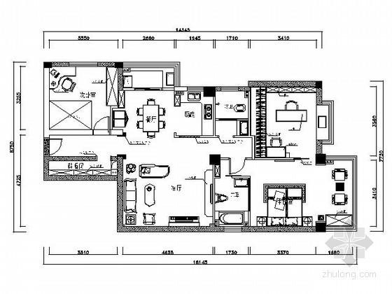 90㎡三室两厅精装样板房装修图(含效果)