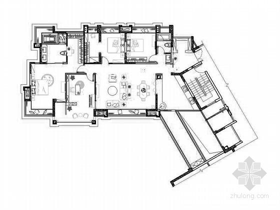 [四川]欧式风格国际四居室样板房室内装修设计施工图(含效果图)