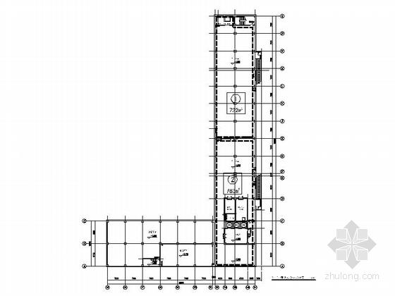[上海]5层现代风格知名企业辅助厂房设计施工图(图纸精细值得参考)-5层现代风格知名企业辅助厂房平面示意图
