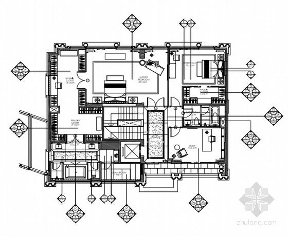 [深圳]奢华英伦风格别墅室内设计施工图(含高清效果图)