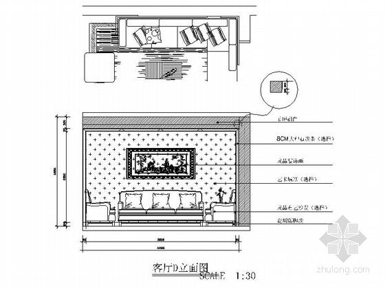 [湖南]创新型小区现代简约两居室设计装修图(含效果)客厅立面图