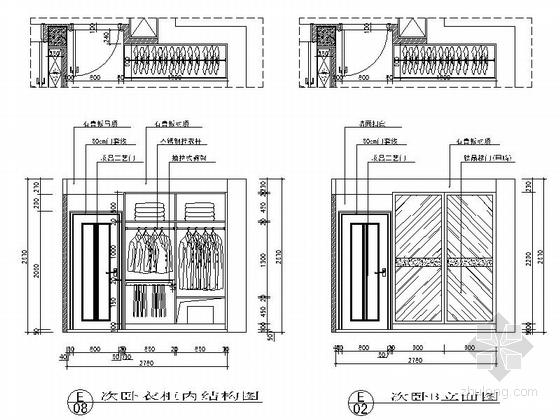 [江苏]河畔花园简欧两居室样板间装修施工图次卧立面图
