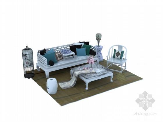 清新中式沙发3D模型下载