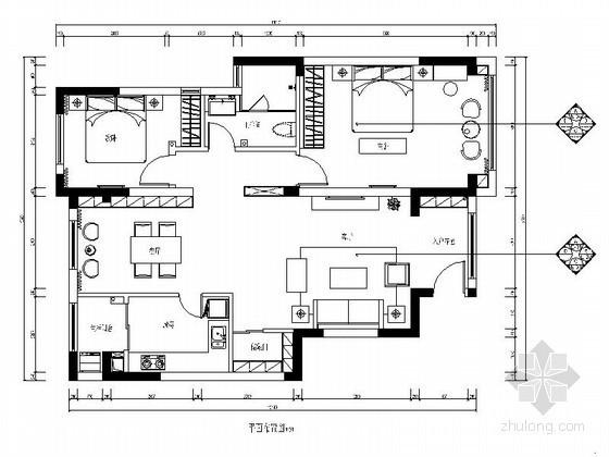 简欧两居室装修平面布置图