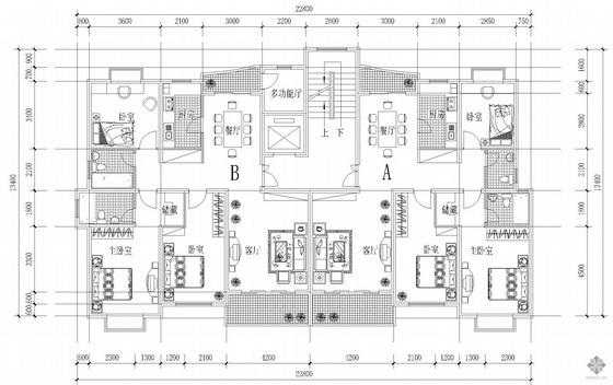 板式高层一梯两户户型图(127/137)