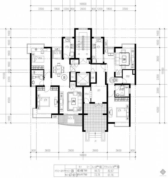 复式高层一梯二户户型图(83/61)