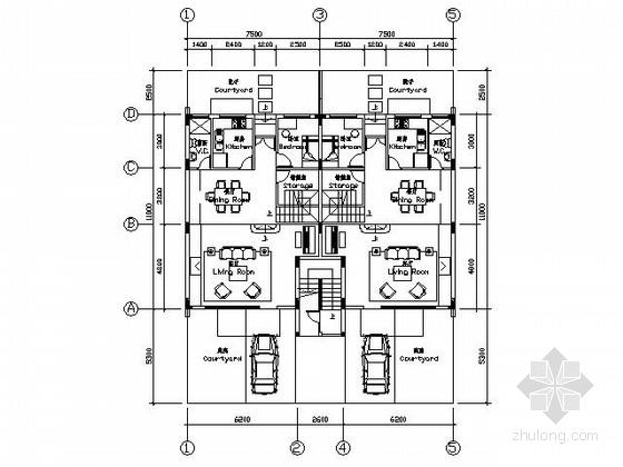 某四层叠拼别墅户型图(带阁楼和屋顶花园)