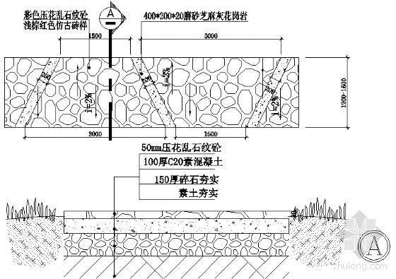 花岗岩,压花乱石纹砼散步道详图-4