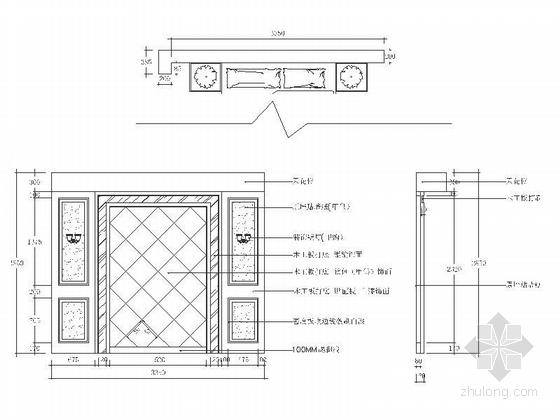 精品浪漫法式风格三居室室内装修施工图(含效果)主卧床头背景墙立面图