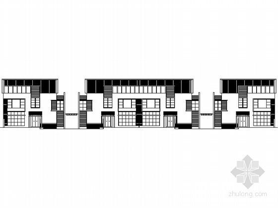 [深圳]某二层四联排徽式别墅(C型)建筑方案图