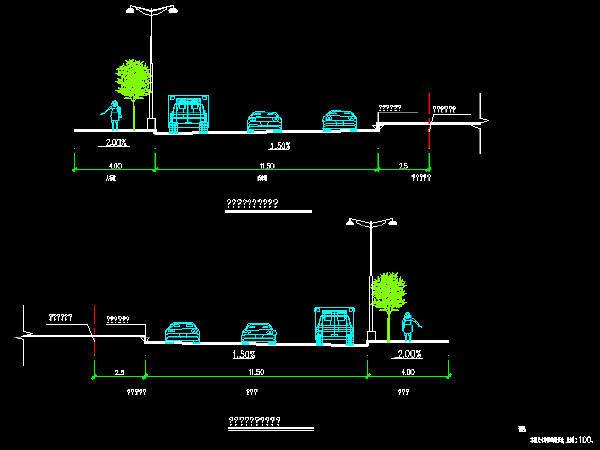 市政道路工程施工图设计139张CAD(道路排水,路灯交通绿化)
