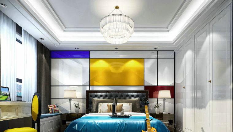 现代风格几何撞色卧室3D模型