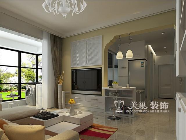盛润锦绣城79平现代简约两室一厅案例装修效果图样板间——客餐厅-