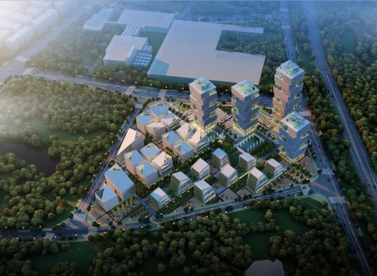 平面厂房规划规划文本资料下载-现代风格企业办公楼综合体地块规划及单体建筑设计方案文本