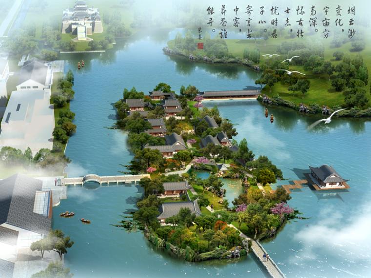 中式滨湖公园湿地效果图PSD源文件