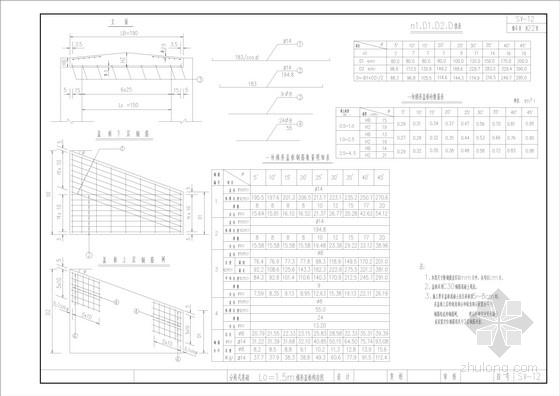 L =1.5m梯形盖板构造图