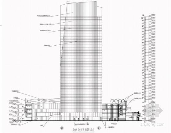 现代风格超高层甲级塔楼式办公楼建筑立面图