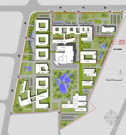 [海南]人民医院门诊楼及内科楼建筑设计方案文本-总平面图