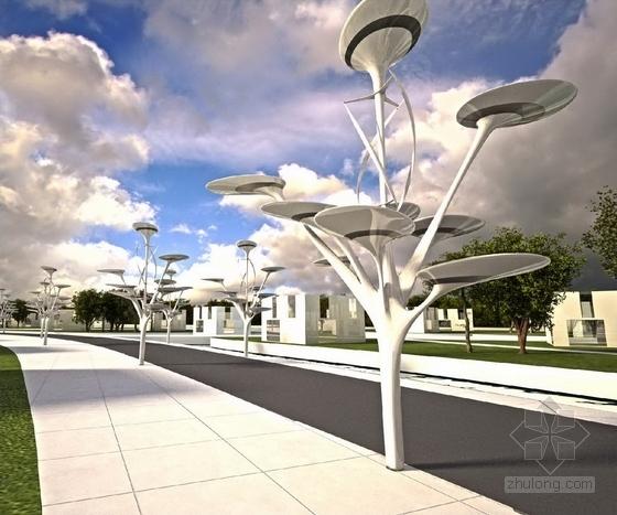 [河北]科技化滨水岛屿未来生态旅游景观规划设计方案-景观效果图