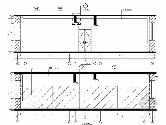 [原创]现代风格小学室内设计装修施工图(含高清效果)舞蹈教室立面图