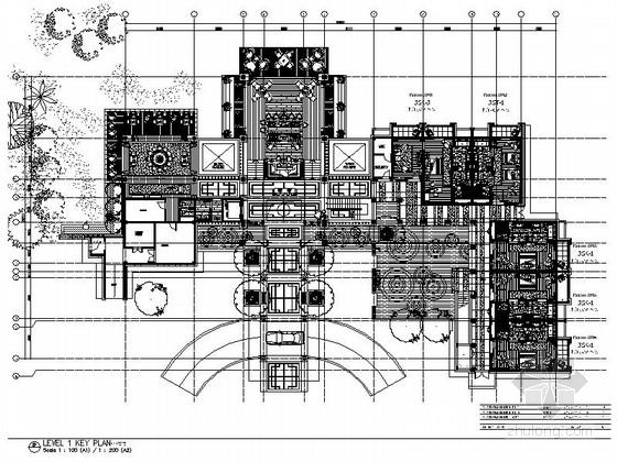 [海南]白金国际化五星级贵宾度假酒店CAD装修施工图(含效果)