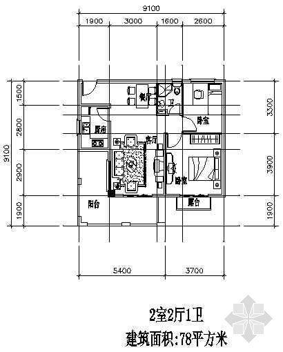 兩室兩廳一廚一衛78平方米