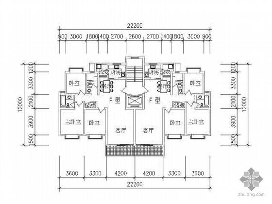 板式高层一梯二北梯户型图(120)