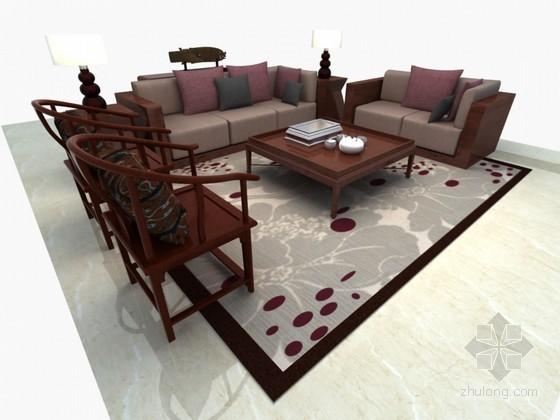 新中式沙发3D模型下载