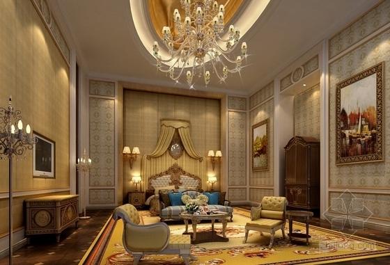 [天津]渤海之巅度假旅游区铂金超五星级酒店设计方案总统主卧室效果图