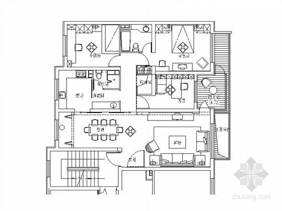 [沈阳]温馨式现代简约3室2厅室内设计CAD施工图