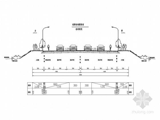 [湖南]双向四车道城市次干道道路工程施工图设计67张